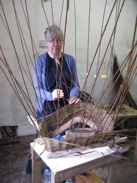 Janice Brooklyn working on 'boat' basket