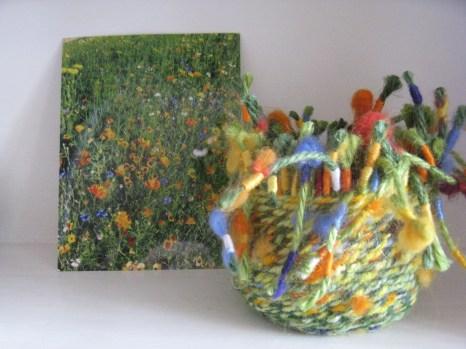 twined basket - wildflowers - jute, wool, embroidery thread and fleece