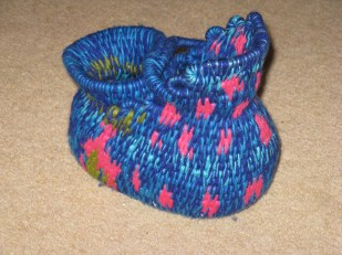 Coiled basket - clothes line and wool