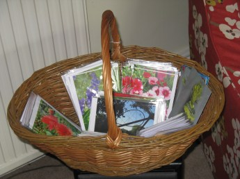 greetings cards and willow basket