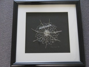 Web of lies - knotted piece using wire, thread and paper