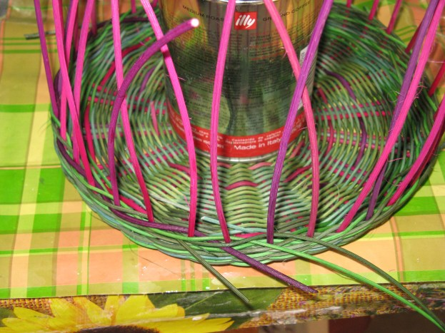 working on dyed cane hairy basket