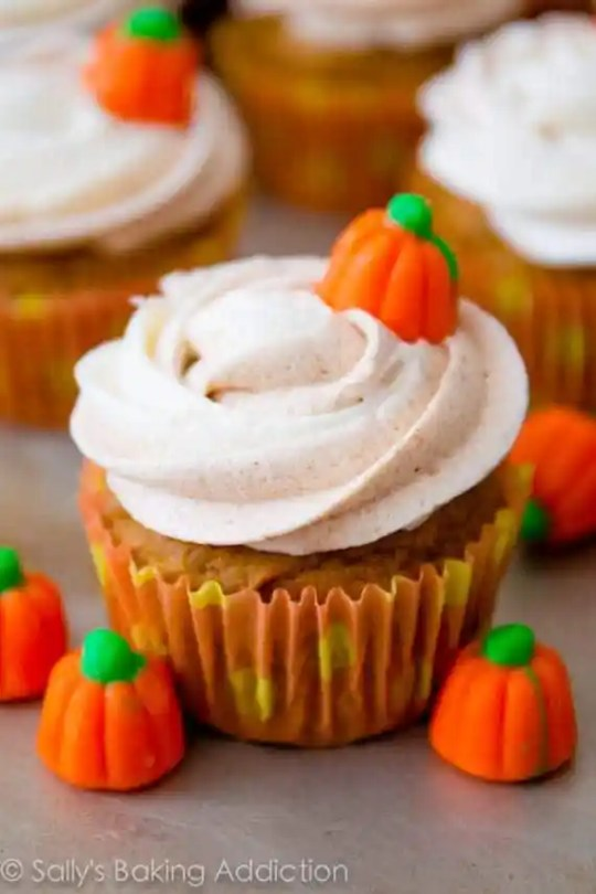 Super-moist spiced pumpkin cupcakes that double as muffins. We make them all the time - this is a recipe to hold onto!