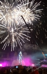 Fire works at font magica Montjuic Barcelona with iron man sculpture