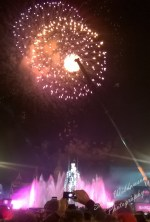 Magic fountain Montjuic Barcelona New Years eve 2014 fireworks with ironman sculpture