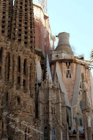 North East corner of the Basiclica de la Sagrada Familia Barcelona Spain Towers representing Jesus and the Virgin Mary