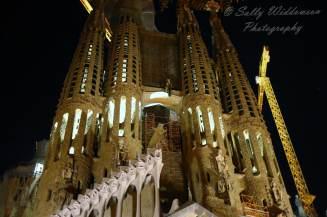 Passion Facade bell towers Basilica de la Sagrada Familia Barcelona Spain