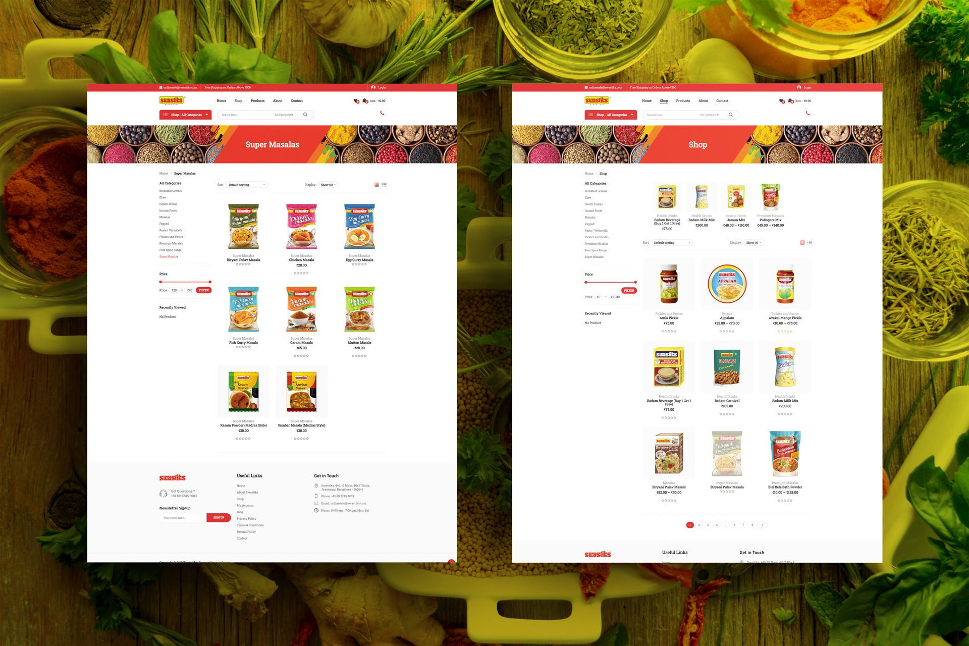 Swastiks Ecommerce Website Screens for Salman Ravoof – Shop & Category Pages