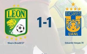 León y Tigres empatan en partido de ida