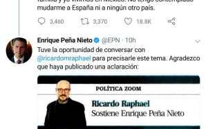 NIEGA PEÑA NIETO QUE VIVA EN ESPAÑA, NO TIENE PENSADO…