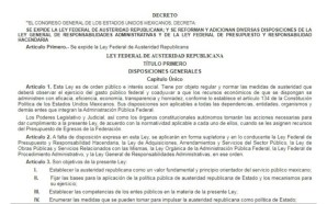 HOY ENTRA EN VIGOR LA LEY DE AUSTERIDAD REPUBLICANA.