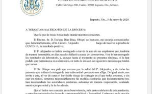 SACERDOTE DE LA DIÓCESIS DE IRAPUATO DA POSITIVO A COVID-19