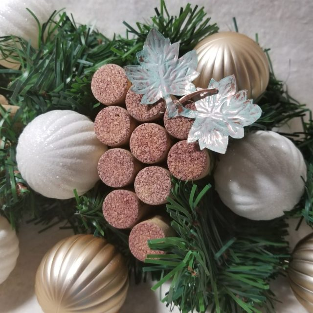 Wine cork grapes ornament