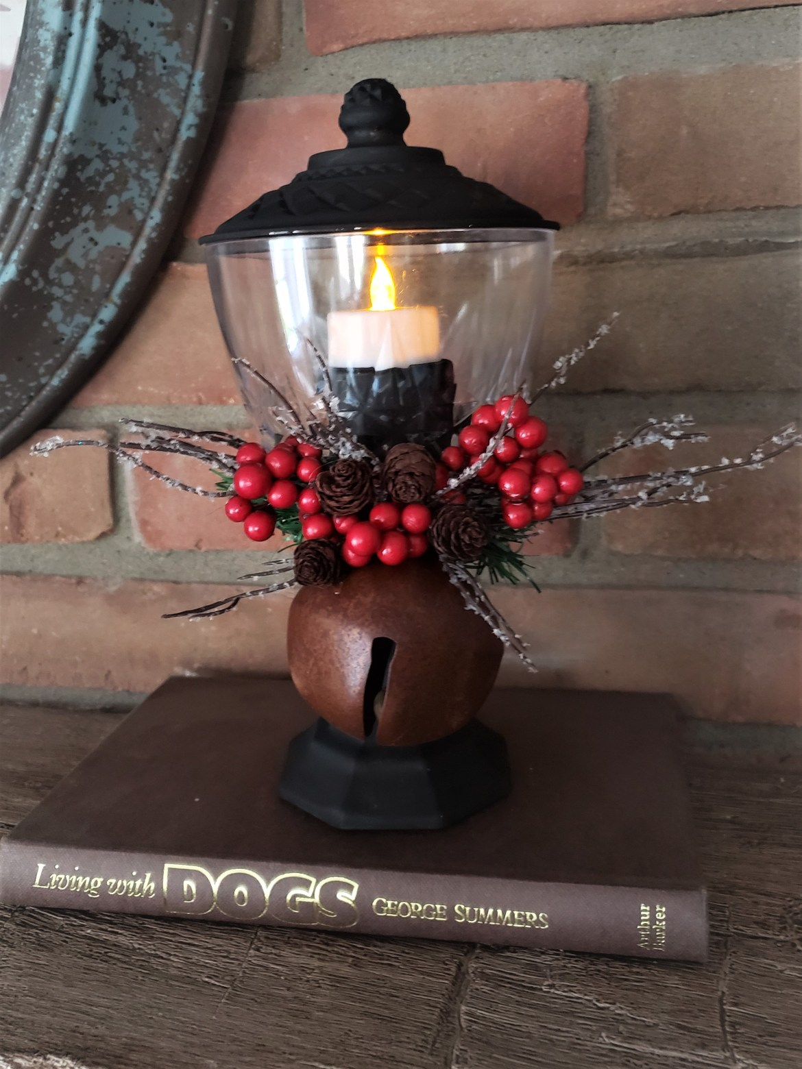 Dollar Tree Candy Dish made into a Christmas Lantern