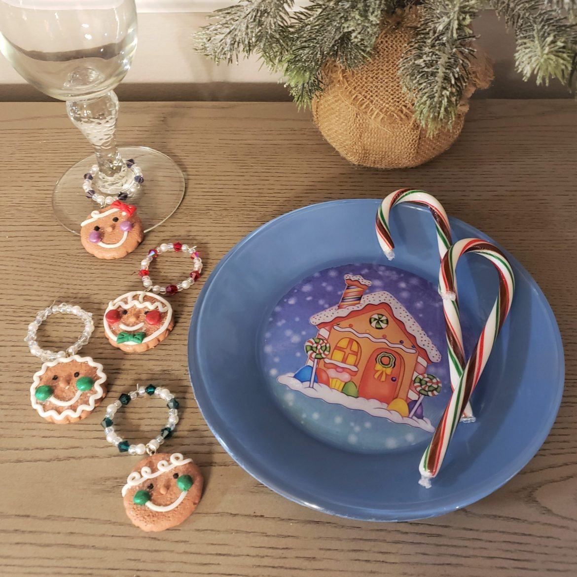 Gingerbread Serving Pieces ~ Wine Glass Charms & Dessert Plate
