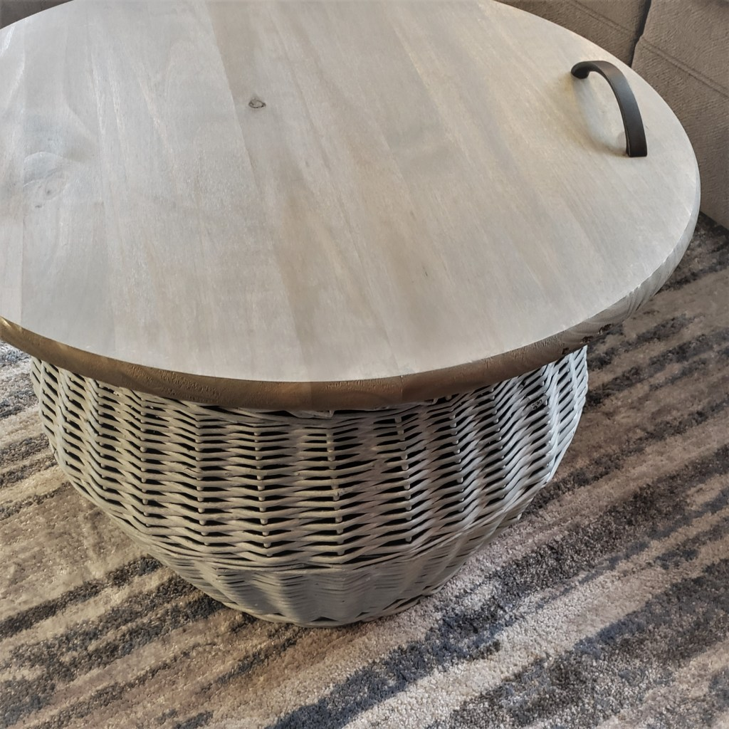 large wicker basket with DIY tray top