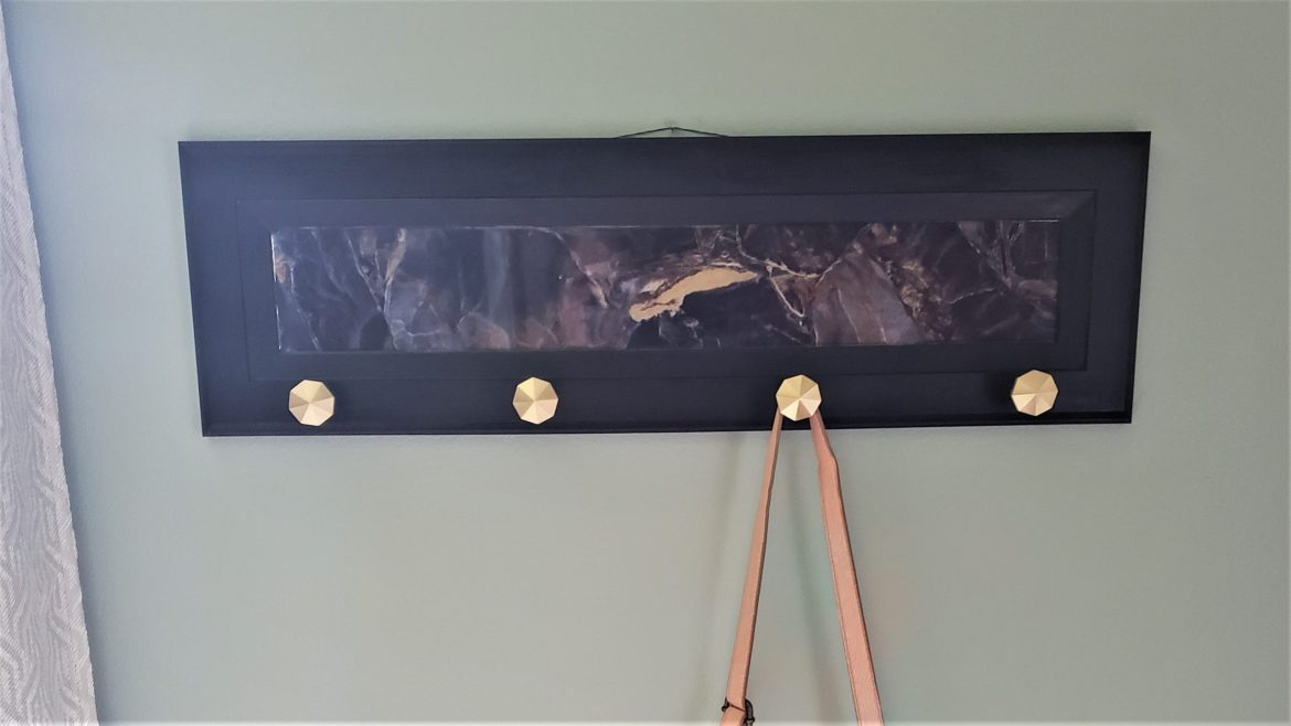 How to Easily Upcycle an Old Cabinet Door into Faux Marble Coat Rack