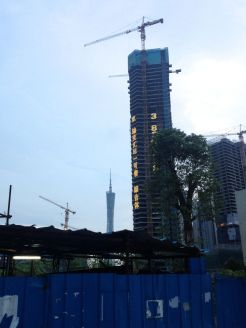 canton tower and continued construction