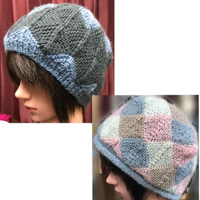 Sさんモザイク編みニット帽2枚目が完成いたしました。