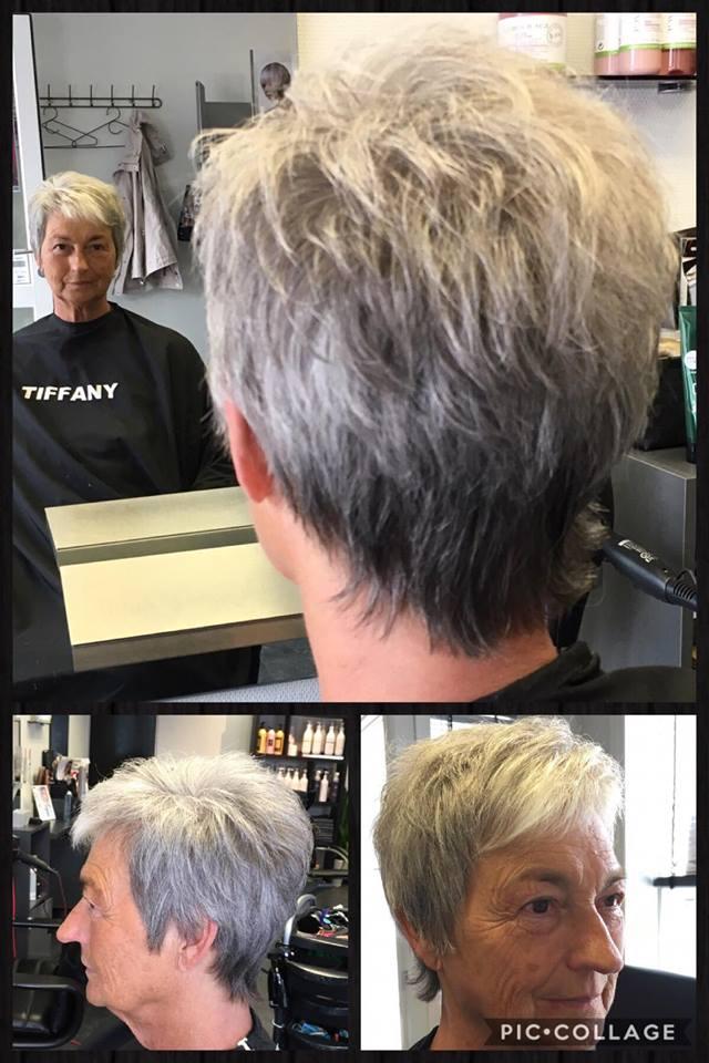 Klipning og føn af kort hår hos Salon Tiffany i Brovst