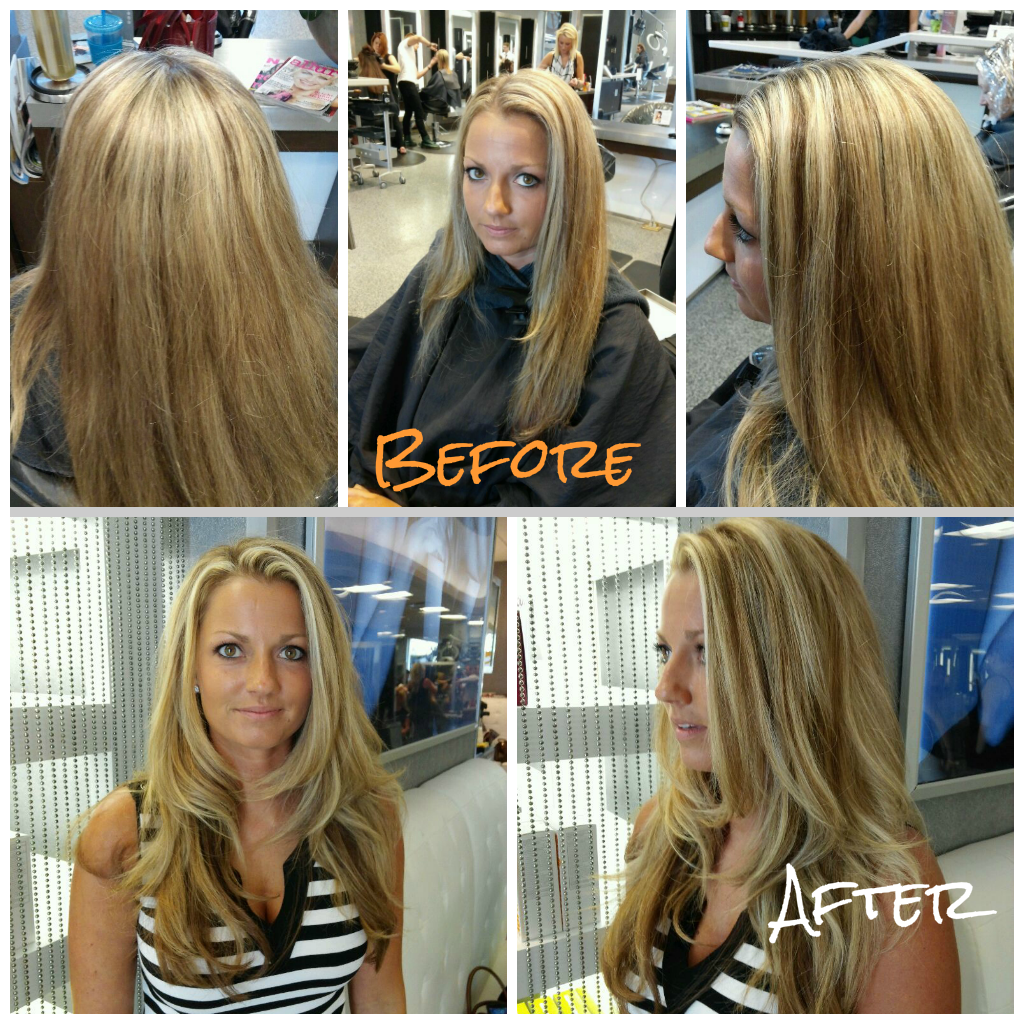 Before and After Balayage, Salon Visage