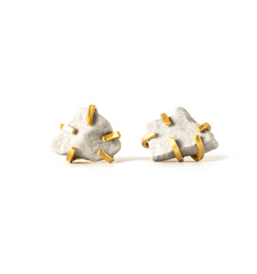 Handmade Contemporary Jewellery Handcrafted Earrings Gudrun Studs White by Saloukee Top View