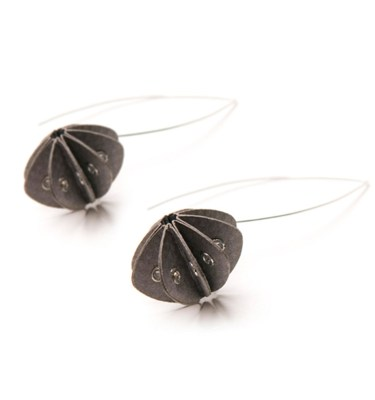 Handmade Elegant Jewellery Paper Earrings Unity Pastels Dark Grey by Saloukee Front View