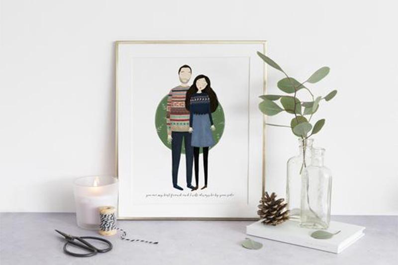 First anniversary gift ideas custom couple portraits