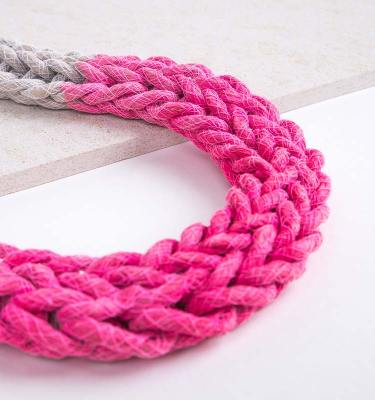 Neon Pink Woven Jewellery Statement Necklace