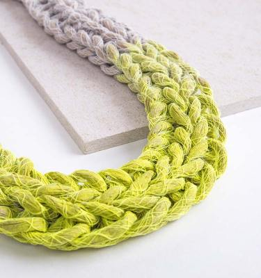 Neon Yellow Woven Jewellery Statement Necklace