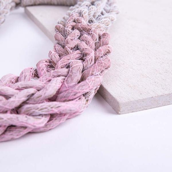 Pastel Pink Woven Jewellery Statement Necklace