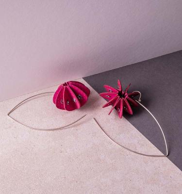 pink paper earrings