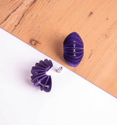 purple paper stud earrings