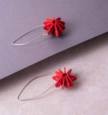 red paper earrings