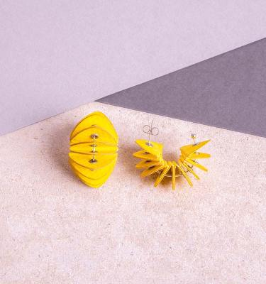 yellow paper stud earrings