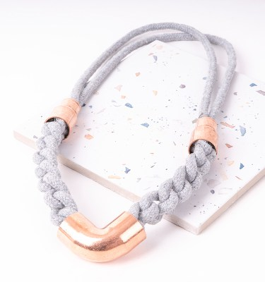 Grey Woven Statement Necklace