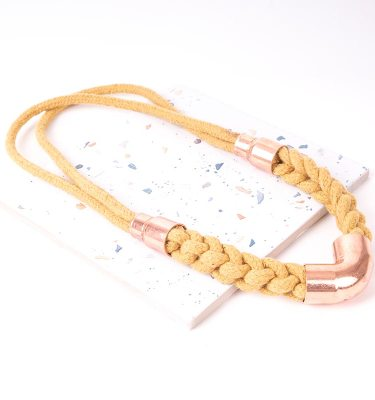 Yellow Woven Statement Necklace