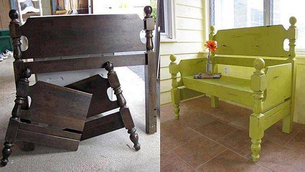 Repurposing furniture headboard to bench