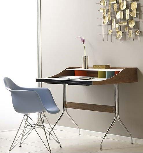 george nelson swag leg desk released by herman miller in. Black Bedroom Furniture Sets. Home Design Ideas