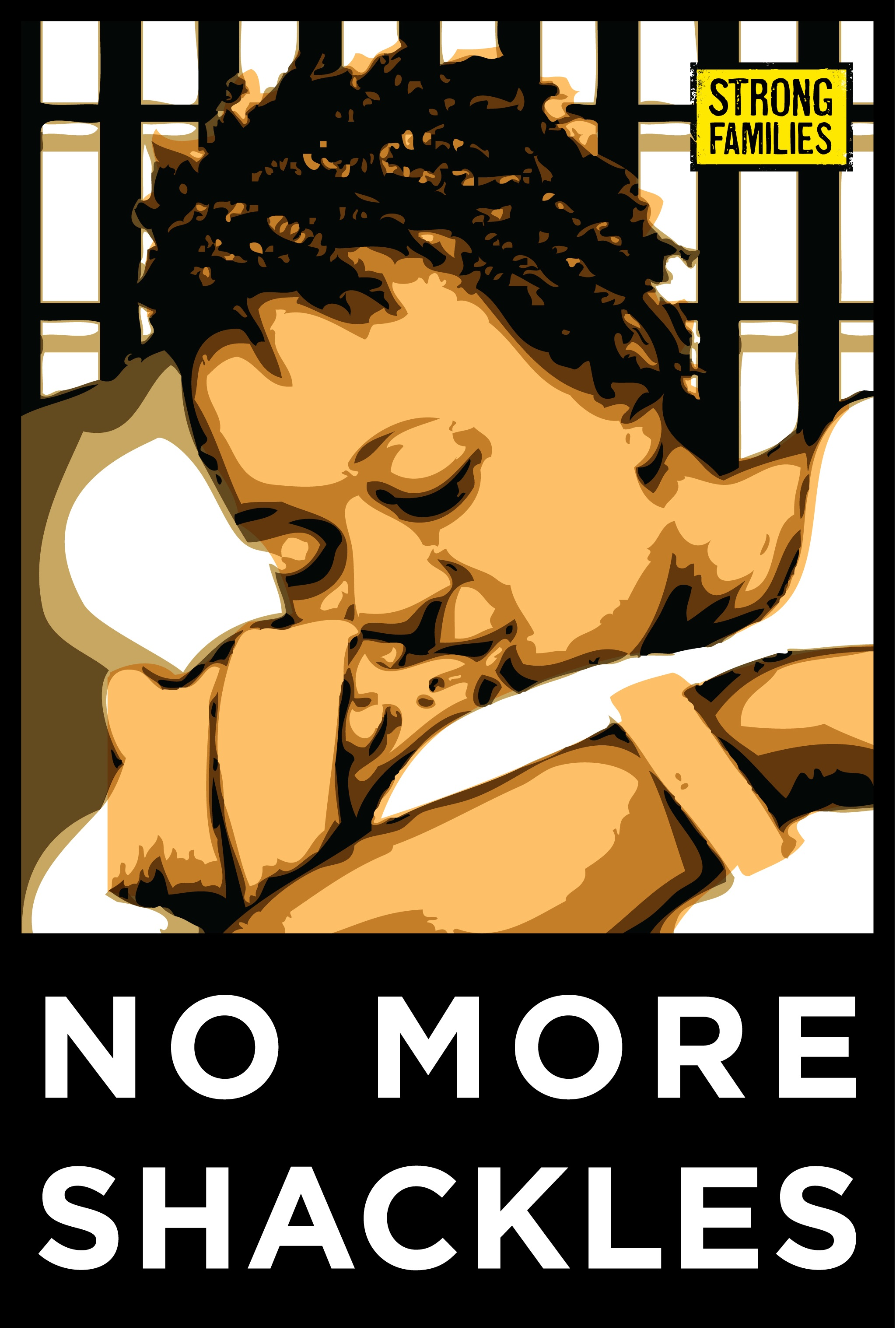 "Woman holding baby with words ""no more shackles"""
