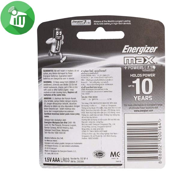 Energizer 4PCS AAA Max + Powerseal Batteries 1.5V