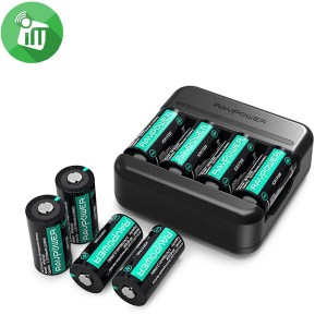 RAVPower CR123A Charger Rechargeable Battery Lithium 700mAh 8-pack