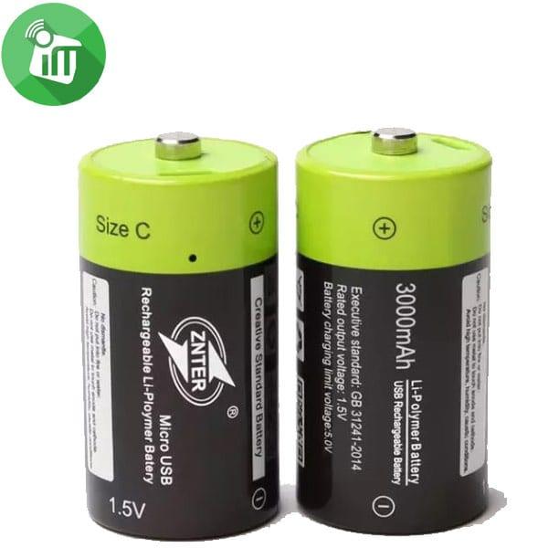 ZNTER Li-polymer 1PCS Size C Micro USB Rechargeable Battery 3000mAh-1.5V