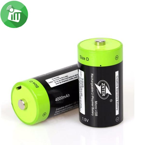 ZNTER Li-polymer 2PCS Size D Micro USB Rechargeable Battery 4000mAh-1.5V