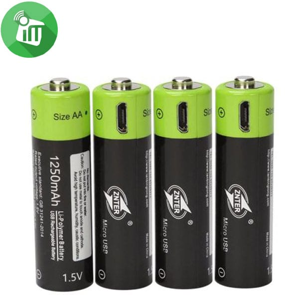 ZNTER Li-polymer 4PCS Size AA Micro USB Rechargeable Battery 1250mAh-1.5V