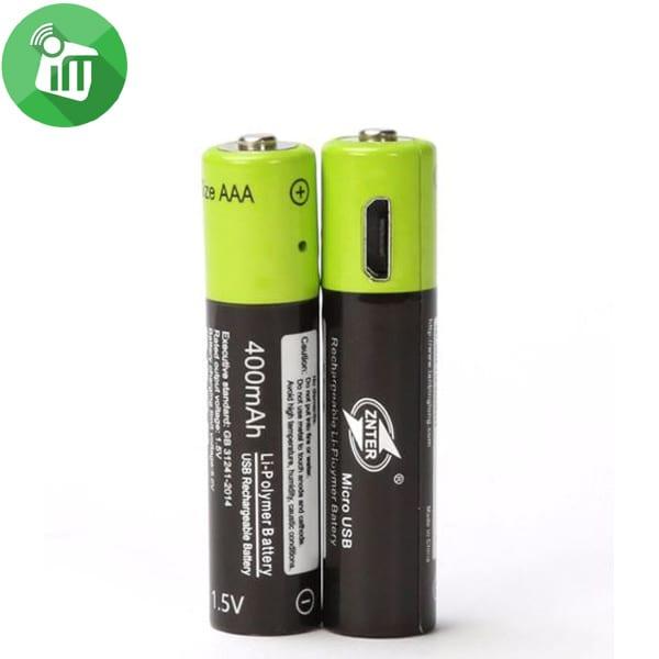 ZNTER Li-polymer 2PCS Size AAA Micro USB Rechargeable Battery 400mAh-1.5V