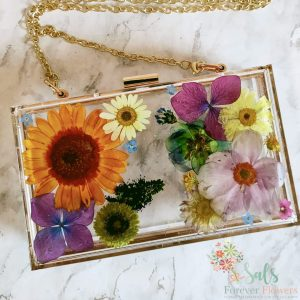 Summer Collection Real Flower Box Clutch Bag