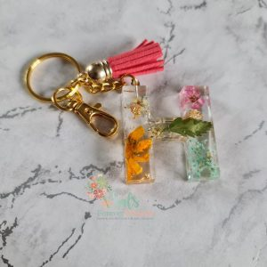 Initial Keyrings with real flowers and Gold Leaf flake