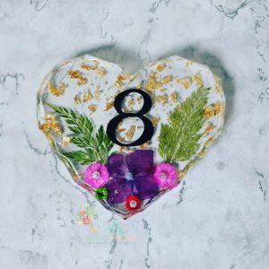 Real Flower Geometric Heart Door Number Plate Plaque