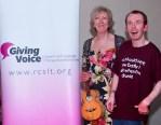 NETA Benefit Ashington Football Club. Giving Voice UK Banner, Liz Panton, Lee Ridley aka Lost Voice Guy